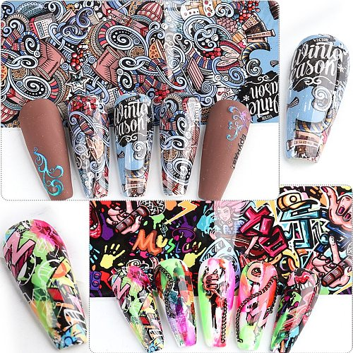 Street Graffiti Anime Nail Foil Abstract Style Sexy Lips Letter Flower Nail Sticker DJ MC Transfer Gel Decal Accessories SA4122