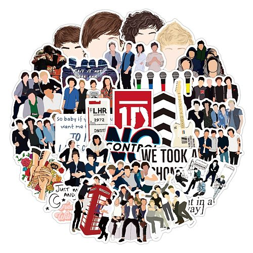 10/50Pcs One Direction band Stickers Waterproof PVC Decals for Fans Gift DIY Laptop Luggage Phone Guitar Stickers