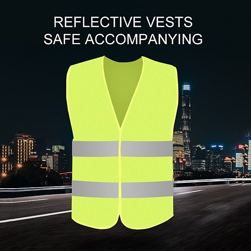 Reflective Strip Vest Car Emergency Reflective Vest Fluorescent High Visibility Jacket Motorcycle Part Car Reflective Strip Vest
