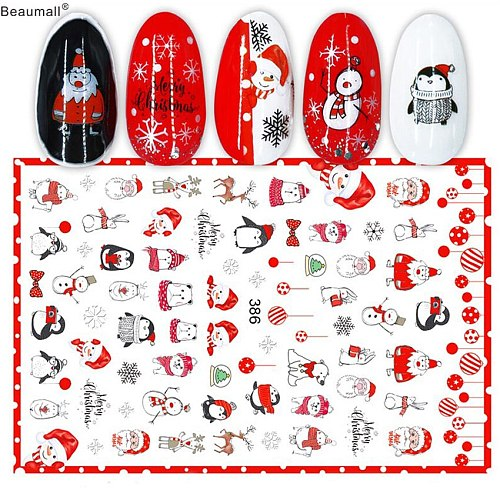 Christmas Nails Art Manicure Back Glue Decal Decorations Nail Sticker For Nails Tips Beauty