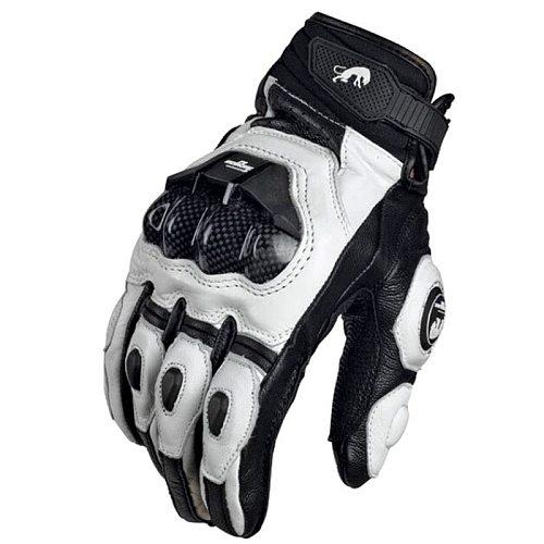 Mens Women 4 Season Driving Supertech Black/White Motorcycle Leather Gloves Racing Glove Motorbike Cowhide racing bike knight