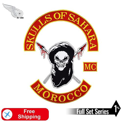 Morocco Skull MC 1% Embroidery Patch Iron on for Clothing Vest Big Back Badges Motorcycle Biker Rider Outlaw DIY Stripes