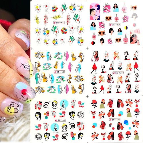 12pcs Nail Water Stickers Abstract Face Geometry Creative Designs Nail Art Paper Decoration Manicure Tattoos Slide BEBN1621-1632