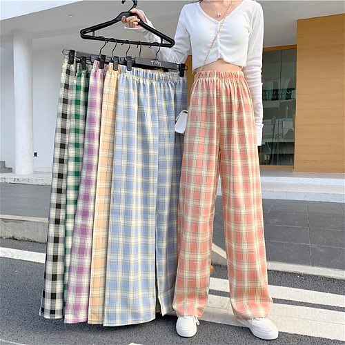Summer INS Cool Women Casual Cotton Linen Pants Elastic Waist Plaid Straight Loose Mopping Female Trousers Plus Size S-4XL