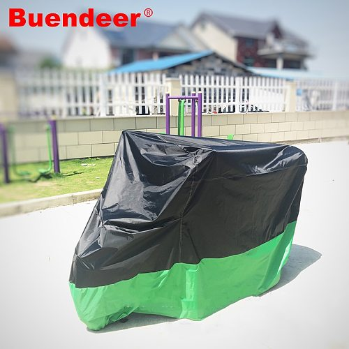 Buendeer M/XL/XXL/XXXL Black with Green Motorcycle Cover Motor Bike Moped Scooter Waterproof  Dust UV Outdoor Cover Protection