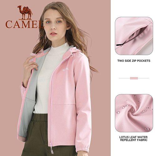 CAMEL Official Women Men Outdoor Jackets Autumn Winter Warm Velvet Assault Softshell Jacket Unisex Coat Sports Clothing Tops