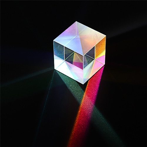8mm Prism Six-Sided Bright Light Combine Cube Prism Stained Glass Beam Splitting Prism Optical Experiment Instrument