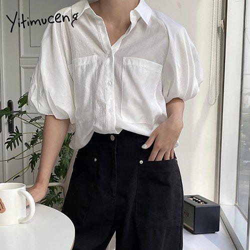 Yitimuceng Casual Blouse Women Oversized Shirts Korean Fashion Short Puff Sleeve Office Lady White Blue Tops 2021 Summer New