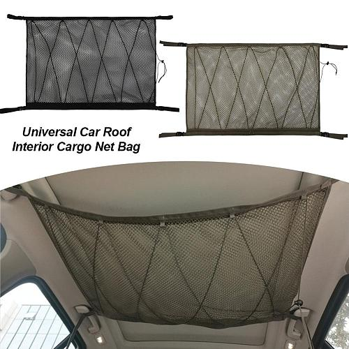 Car Ceiling Storage Net Pocket Car Roof Interior Cargo Net Bag Portable Double-layer Car Trunk Storage Pouch For Van SUV