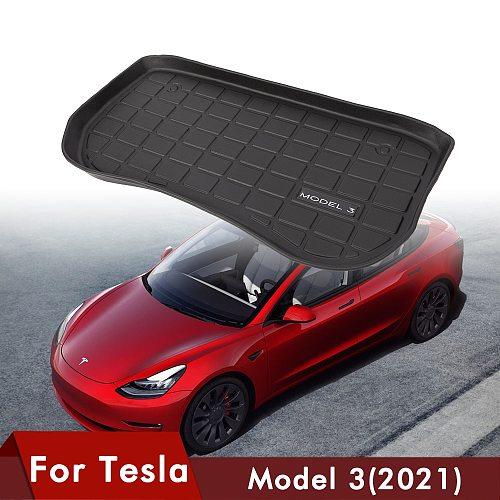 1PCS Car Front Trunk Mat For Tesla Model 3 Car Accessories Black TPE Waterproof Wearable Protective Pads Mat Compatible 2021