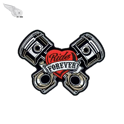 Ride Forever Piston Embroidered Patch MC Motorcycle Club Rider Biker Patches for Clothing Iron on Badges Vest Jacket Sticker