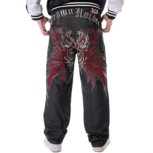 Mens Jeans Top Rushed Stripe Loose Hip Hop Jeans Men Printed Hiphop demin pants Tide Trousers Embroidered Flower Wings