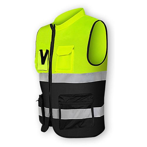Multi-pockets High Visibility Zipper Front Safety Vest with Reflective Strips