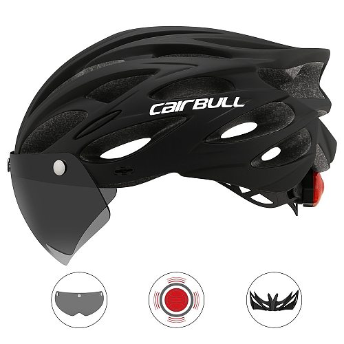 Cairbull Ultralight Cycling Helmet With Removable Visor Goggles Bike Taillight Intergrally-molded Mountain Road MTB Helmets 230g