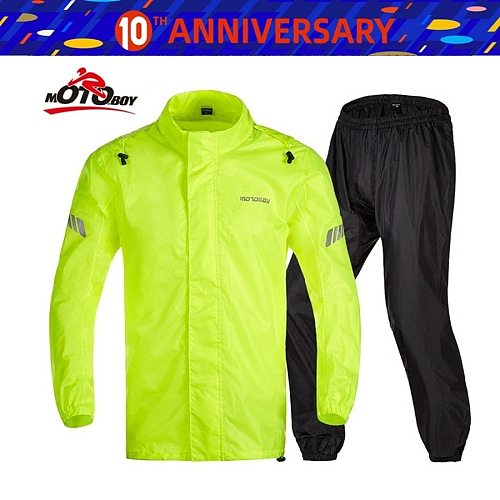 Free shipping 1set Motocross Riding Clothes Reflective Rain Pants suit Raincoat Motorcycle Rider Raincoat Jakcet And Rain Pants