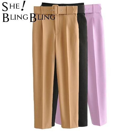 SheBlingBling Women Trousers Office Lady High Waist Straight Pants Elegant Ladies Career Sashes Casual Ankle Length Pants