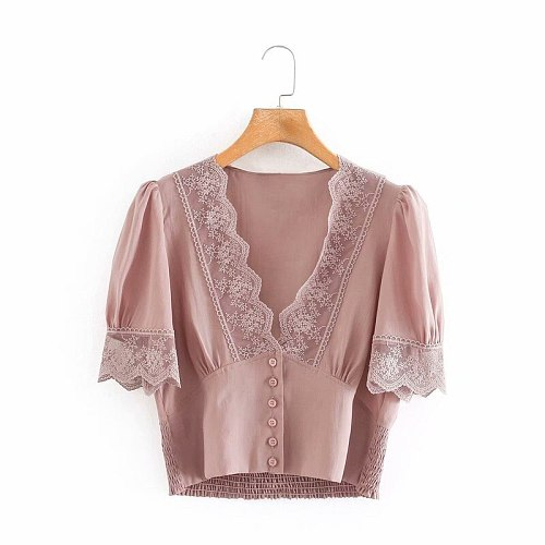 Summer Women New Lace Cropped Top V Neck Shirt Womens Tops Button Up Blouse Korean Fashion