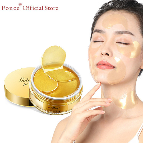 Fonce 24K Gold Crystal Collagen Gel Eye Patches 60pcs  Sleep Mask Remover Wrinkle Anti Age Eyebag  Treatment Dark Circles