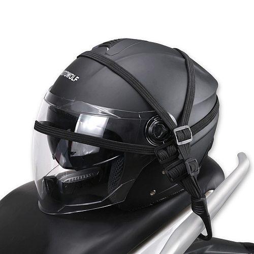 Motorcycle Universal Helmet Rope Mesh Luggage Net Hooks Motorbike Helmet Strap Holder Protection Gears Accessories