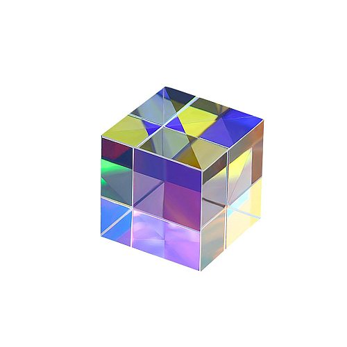 10x10mm Bright Light Combine Optical Prism Transparent Glass Cube Prism Colorful Six-sided Beam Splitting Prisms Glass Home Tool