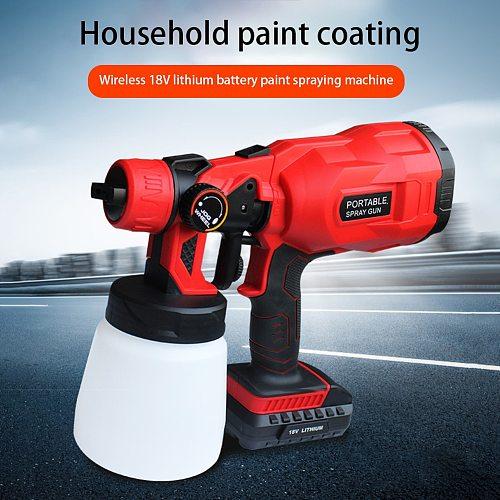 550W 18V Electric Cordless Spray Gun 800ml Household Paint Sprayer High Pressure Flow Control Easy Airbrush