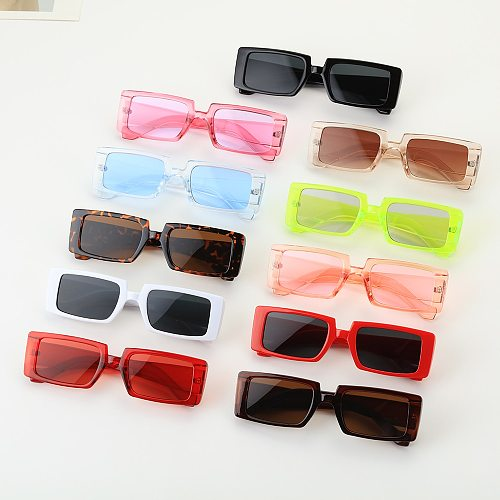 Candy Color Vintage Wide Frame Women Sunglass Small Rectangle Sunglasses Summer Female UV400 Lens Trendy Eyewear Wholesale