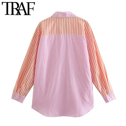 TRAF Women Fashion Patchwork Striped Loose Blouses Vintage Long Sleeve Pockets Female Shirts Blusas Chic Tops