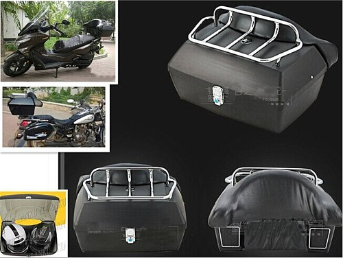 Matte black Trunk Tail Box Luggage With Top Rack Backrest For Fit Sportster XL883 1200 48 Dyna Wide Glide Softail