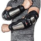 WOSAWE 4Pcs/Set Stainless Steel Elbow Knee Pads Motorcycle Knee Pad Armor Moto Racing Knee Protective Gear Protector Guards Kit