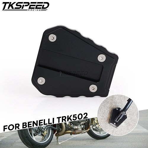 Motorcycle Foot Side Stand For Benelli TRK502 TRK 502 CNC Aluminium Kickstand Footrest Extension Pads Support Plate