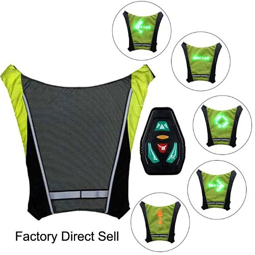 LED Wireless Cycling Reflective vest MTB Bike Bag Safety LED Turn Signal Light Vest Bicycle Reflective Warning Vests with remote