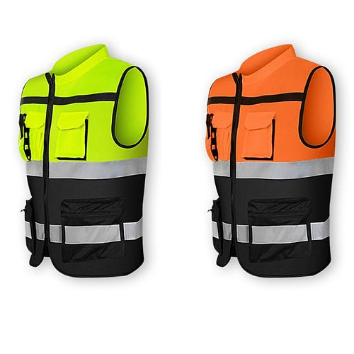 Multi-Pockets High Visibility Zipper Front Safety Vest with Reflective Strips Bicycle and Motorcycle Riding Multipurpose