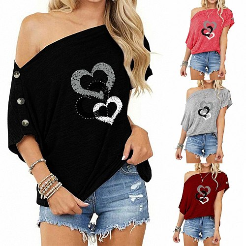 2021 Women's Love Print Blouse Shirts Summer Plus Size Casual Tops Skew Collar Blouses Femme Shirt Women Tunic Blusas Mujer