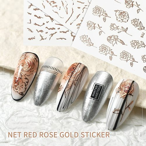 1PC Water Nail Decal And Sticker Hollow Rose Sticker Nail Art Jewelry Laser Sticker Decorative Nail Art Flower 3d Sequins TSLM2