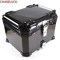 45L Real 12K Carbon Fiber Top Tail Motorcycle Rear Luggage Storage Tool Helmet Box Case Lock Trunk Waterproof Aluminum Universal