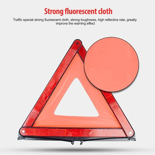 Car Emergency Breakdown Warning Triangle Reflective Sign Vehicle Red Safe Hazard Tripod Folded Stop Sign Auto Accessory