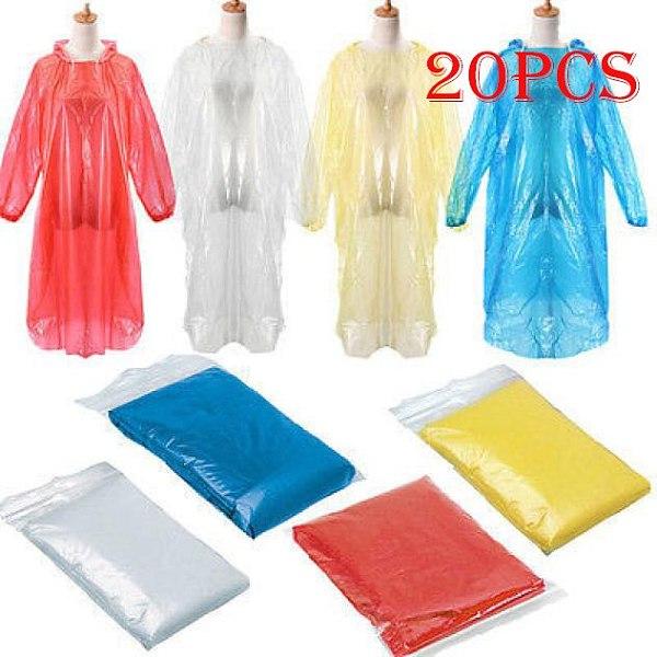 2021 New Hot 20Pcs Disposable Adult Emergency Waterproof Rain Coat Poncho Hiking Camping Hood Motorcycle Rider Raincoat #Ger