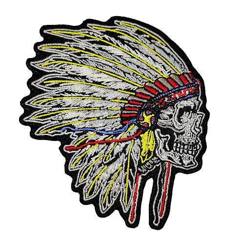 Indian Style Skull Embroidery Patch Appliqued Motorcycle Biker Rider Jacket Vest Accessories for DIY Clothing Decoration Sticker
