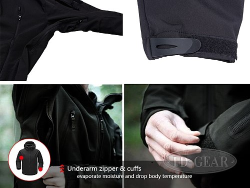 ESDY Outdoor Jacket Coat Water-resistant Luker TAD Shark Skin Soft Shell Hoodie Military Airsoft Camping Hiking Clothing WST115