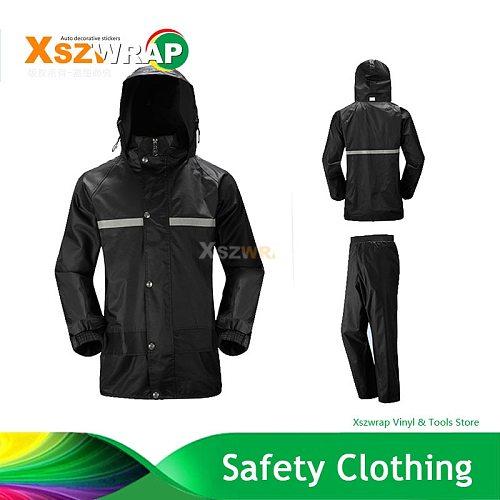 Impermeable Raincoat Women/Men Jacket Pants Set Adult Rain Poncho Thick Police Rain Gear Motorcycle Reflector Rainsuit