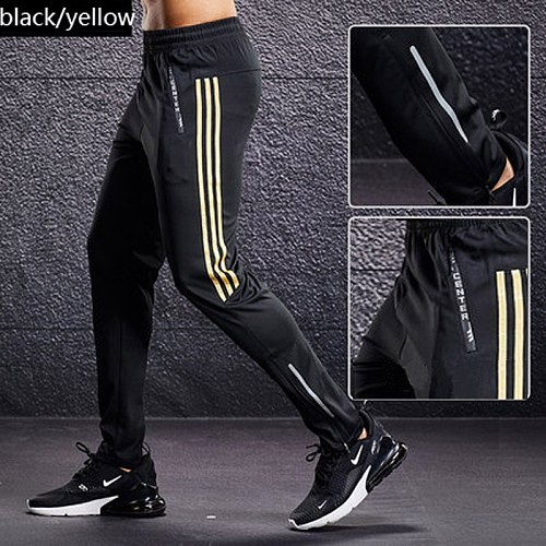 Sports pants Men Breathable Sport Sweatpants Zip Pocket Soccer Training Pants Gym Workout Pant summer Athletic Running Trousers