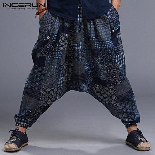INCERUN Plus Size Men Print Vintage Harem Pants Drop Crotch Cotton Hip-hop Men Women Casual Pants Streetwear Baggy Trousers 2021