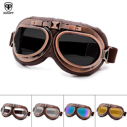 Roaopp Retro Motorcycle Goggles Glasses Vintage Moto Classic Goggles for Harley Pilot Steampunk ATV Bike Copper Helmet