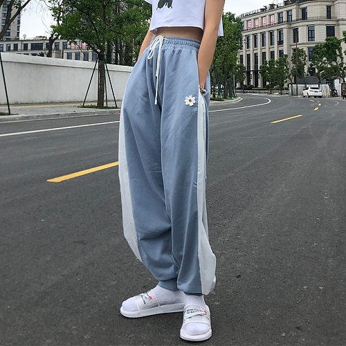 White Blue Contrast Loose Jogging Pants Women High Waist Drawstring Trousers Casual Pants Female Korean Streetwear Pants