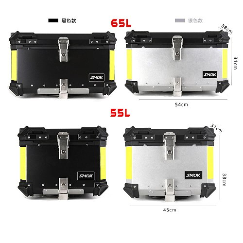 55L 65L Tail Motorcycle Top Luggage Storage Case Tool Box Helmet Rear Trunk Lock Toolbox Universal Removable Waterproof Aluminum