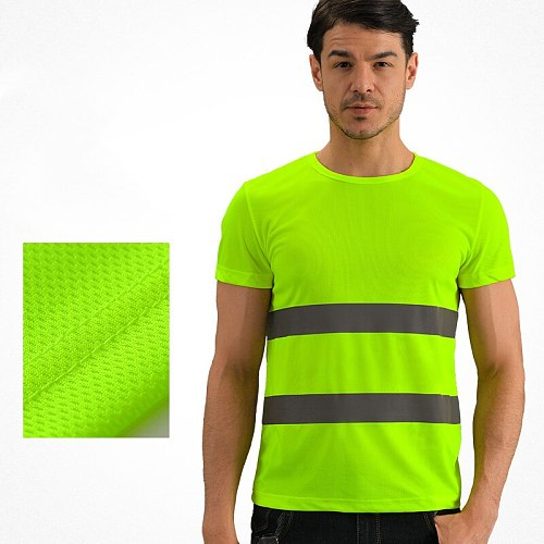 10PCS Free Prints Logo Anti-light Dry T-shirt Construction Site Safety Clothes Short Sleeve Riding Advertisement Reflective Vest