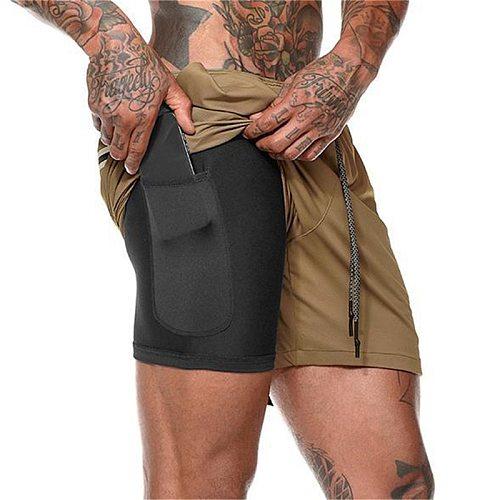 Summer Running Shorts 2021 Men 2 in 1 Sports Jogging Fitness Shorts Training Quick Dry Mens Gym Men Shorts Sport gym Short Pants