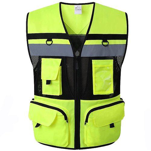 9 Pockets Motorcycle Orange Summer Mesh Vest Reflective Safety Vest High Visibility Night Warning Safety Coat for Car