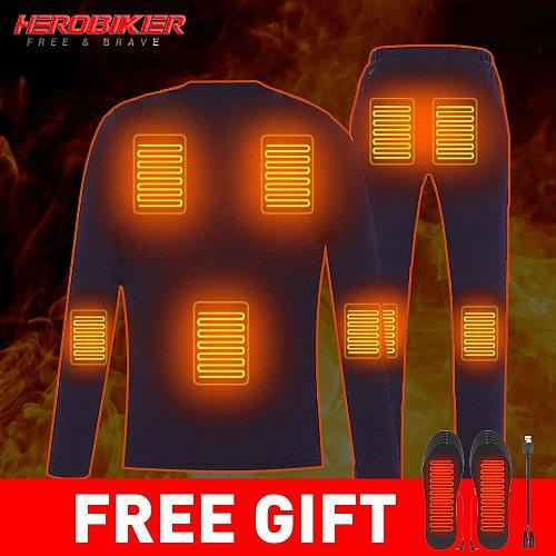 HEROBIKER Motorcycle Heating Jacket Winter Heated Jacket Men Electric USB Heating Thermal Underwear Set Shirt Top Clothes M-4XL