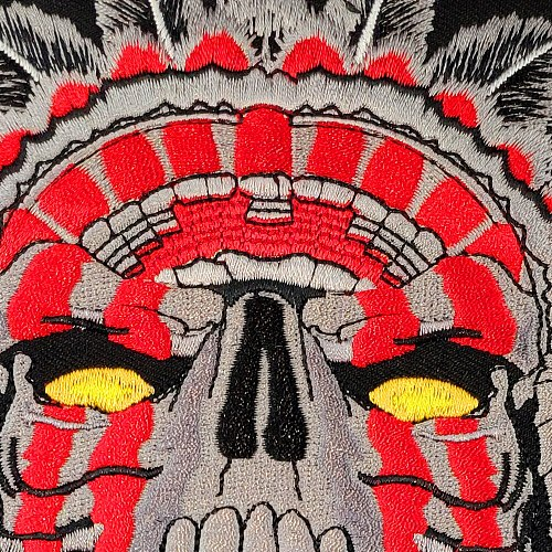 Patch For Clothing Indian Large Horned Chief Death Skull Motorcycle Biker Stickers Clothes Back 11 Inches Mc Rider Vest Iron On